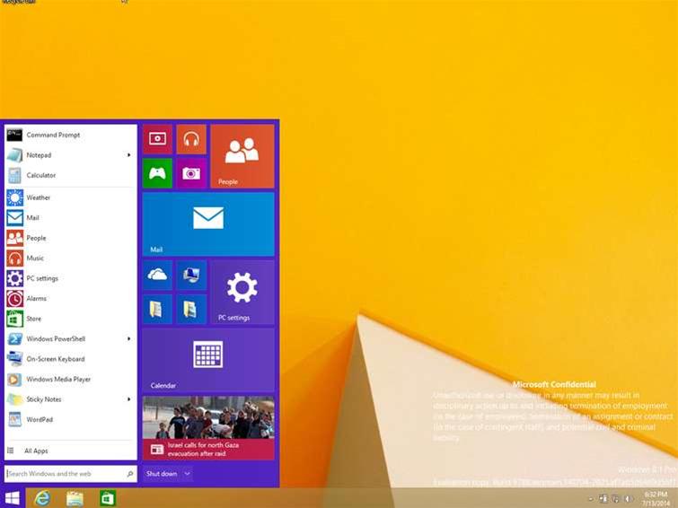 Windows 8.1 start menu leaks online