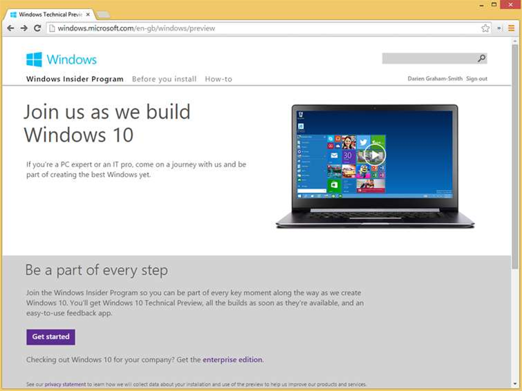 How to download Windows 10 Technical Preview