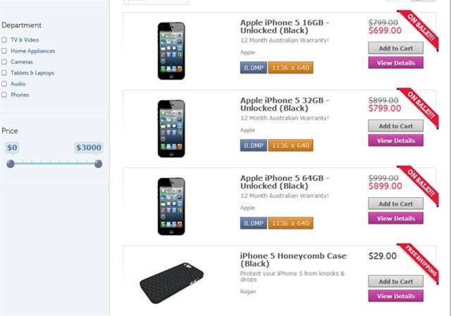 Kogan taking pre-orders for unlocked iPhone 5 handsets from today