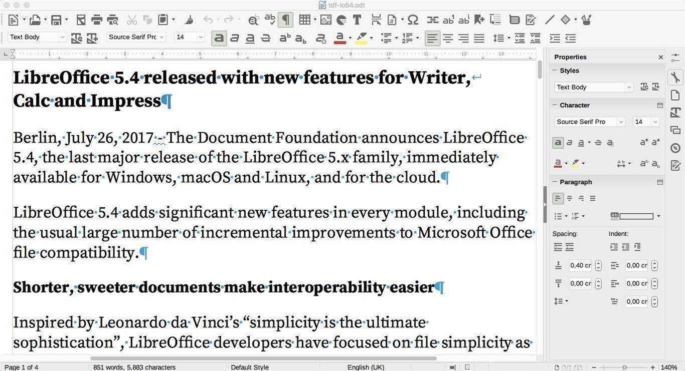 LibreOffice 5.4 improves Office compatibility