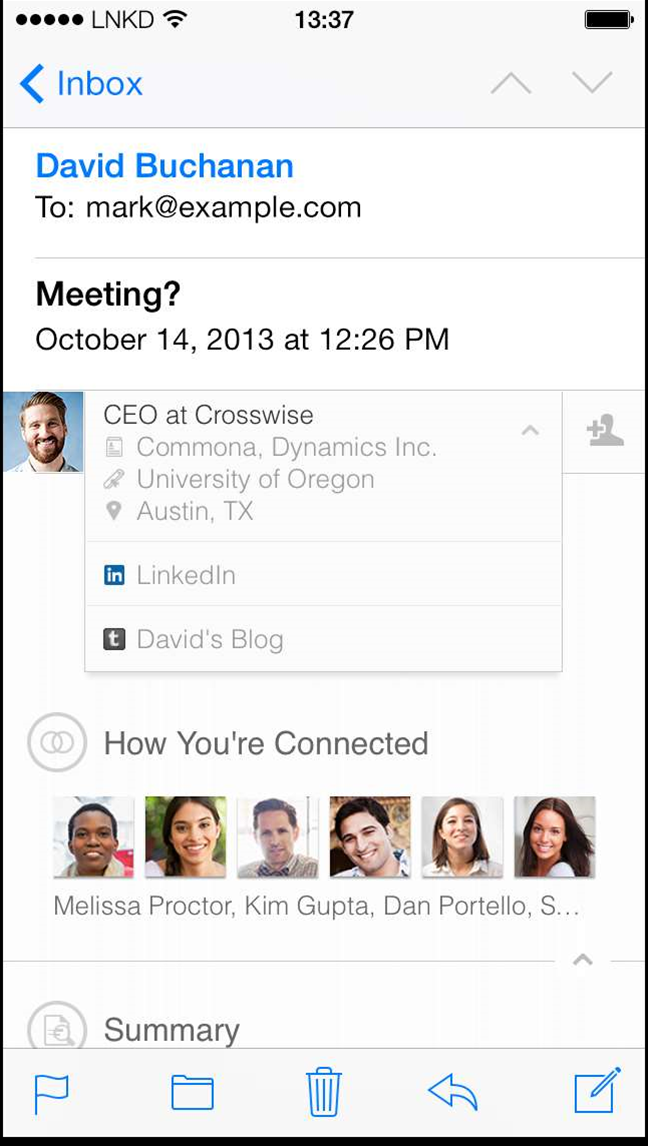 LinkedIn adds profile integration to iOS emails