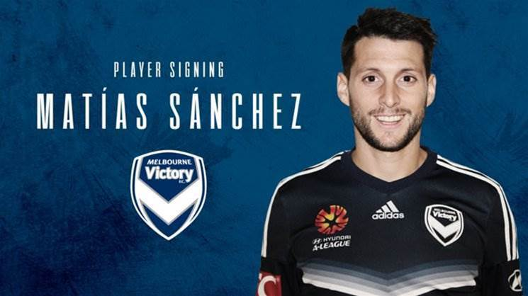Victory sign Argentinean midfielder Matias Sanchez