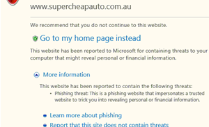 Microsoft phishing filter blocks legitimate Aussie sites