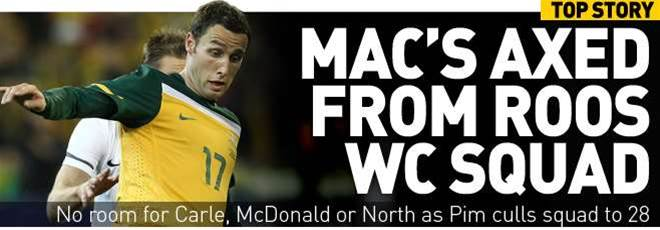 Mac's Axed From Roos WC Squad