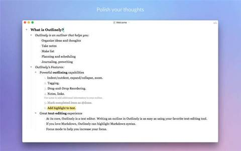 Outlinely Express is a powerful free outliner for Mac