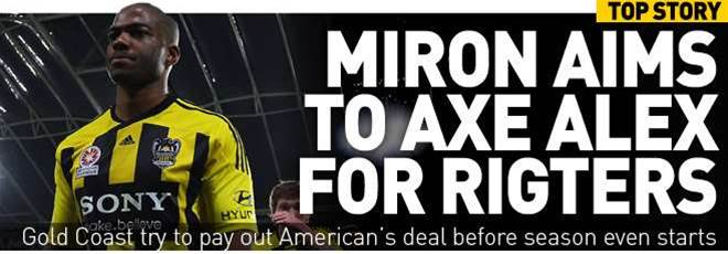 Miron To Axe Alex For Rigters