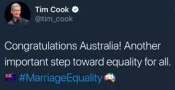 Apple's Tim Cook congratulates Australia on marriage equality vote… but uses New Zealand flag