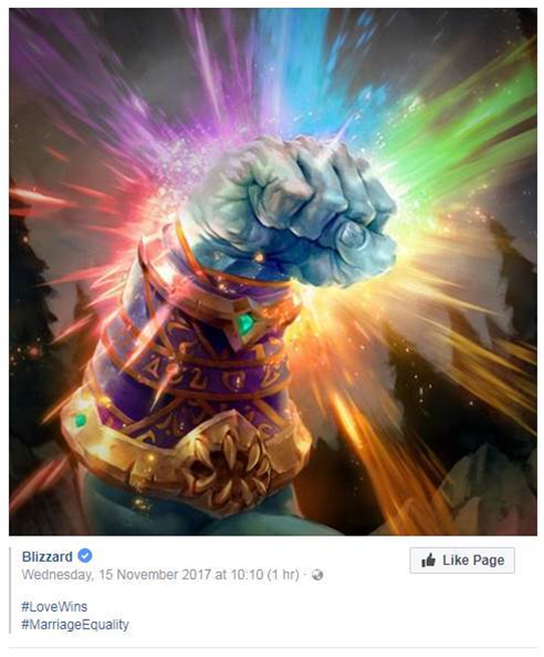 Blizzard offers support and solidarity to Australian SSM campaigners