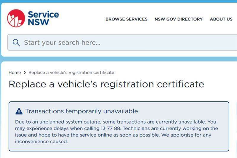 System outage downs Service NSW payment platform