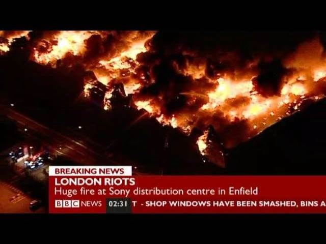 Sony facility burns in London riots