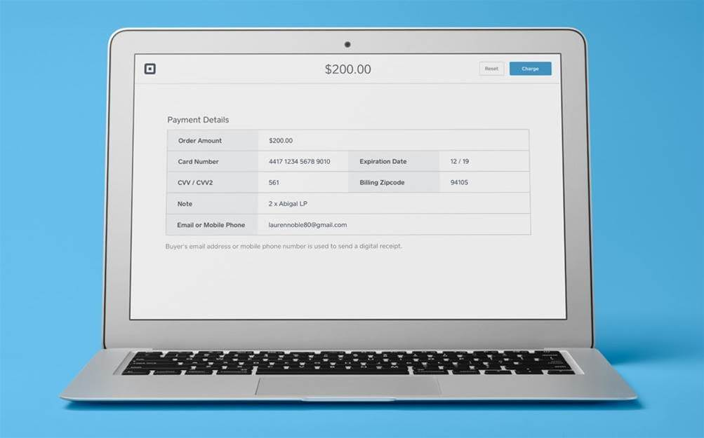 Square takes payments via web dashboard