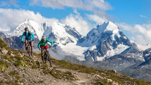 Mountain biking above St Moritz
