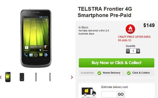 You can now pickup a Telstra pre-paid 4G phone for $149