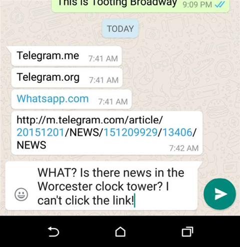 Whatsapp blocks links to rival app Telegram