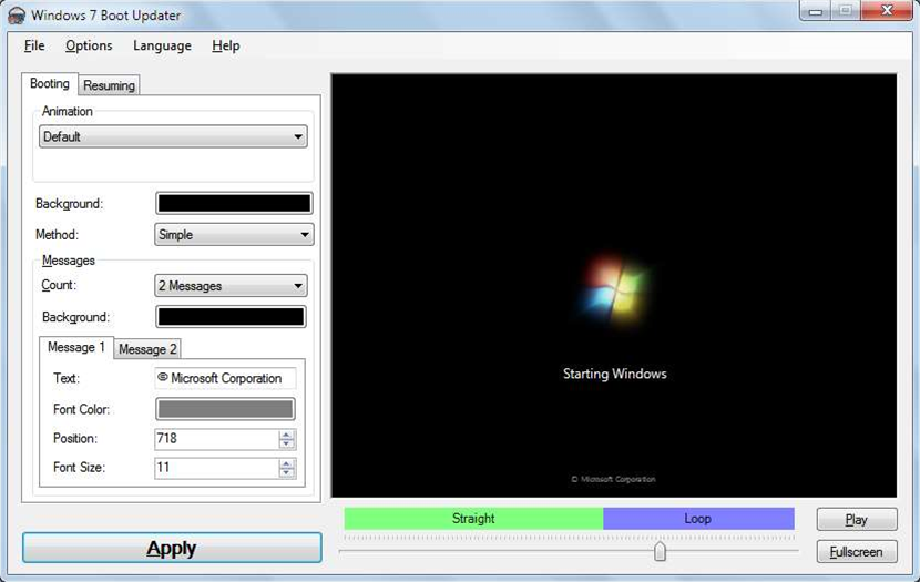 Windows 7 Boot Updater makes it easy to customize your boot animation and text