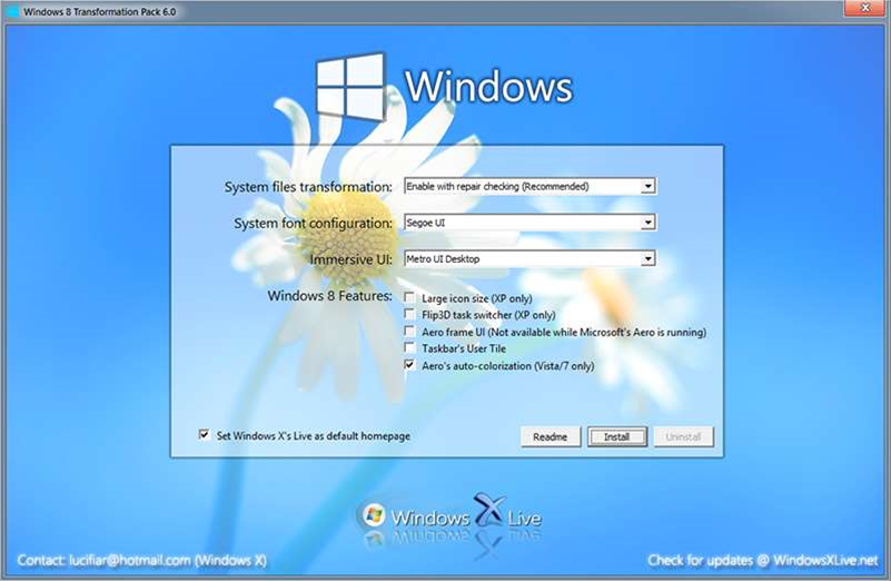 Windows 8 Transformation/UX Pack 6.0 bring back Aero + RTM support