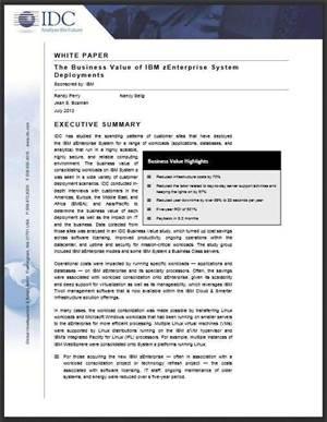 The Business Value of IBM zEnterprise System Deployments