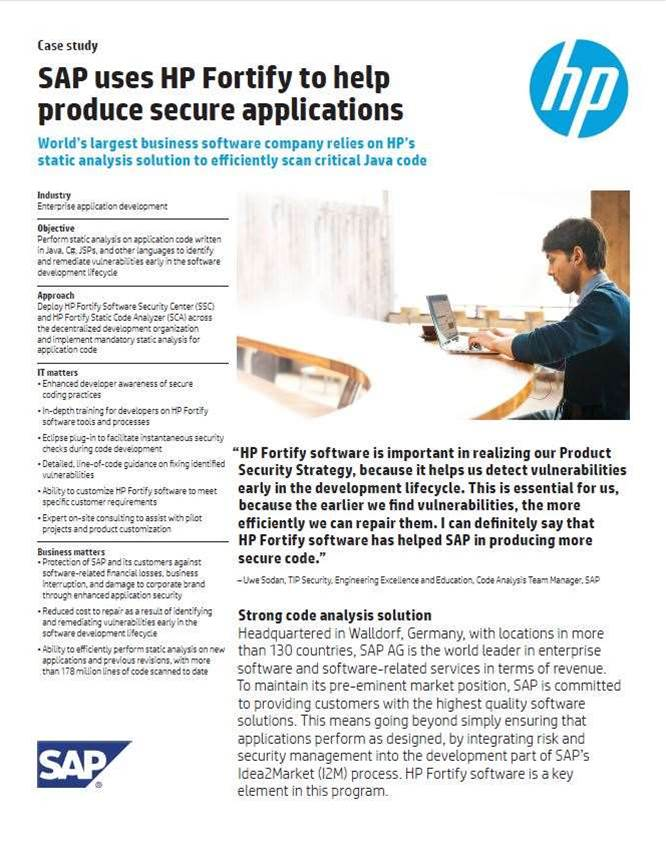 Case Study: SAP uses HP Fortify to help produce secure applications