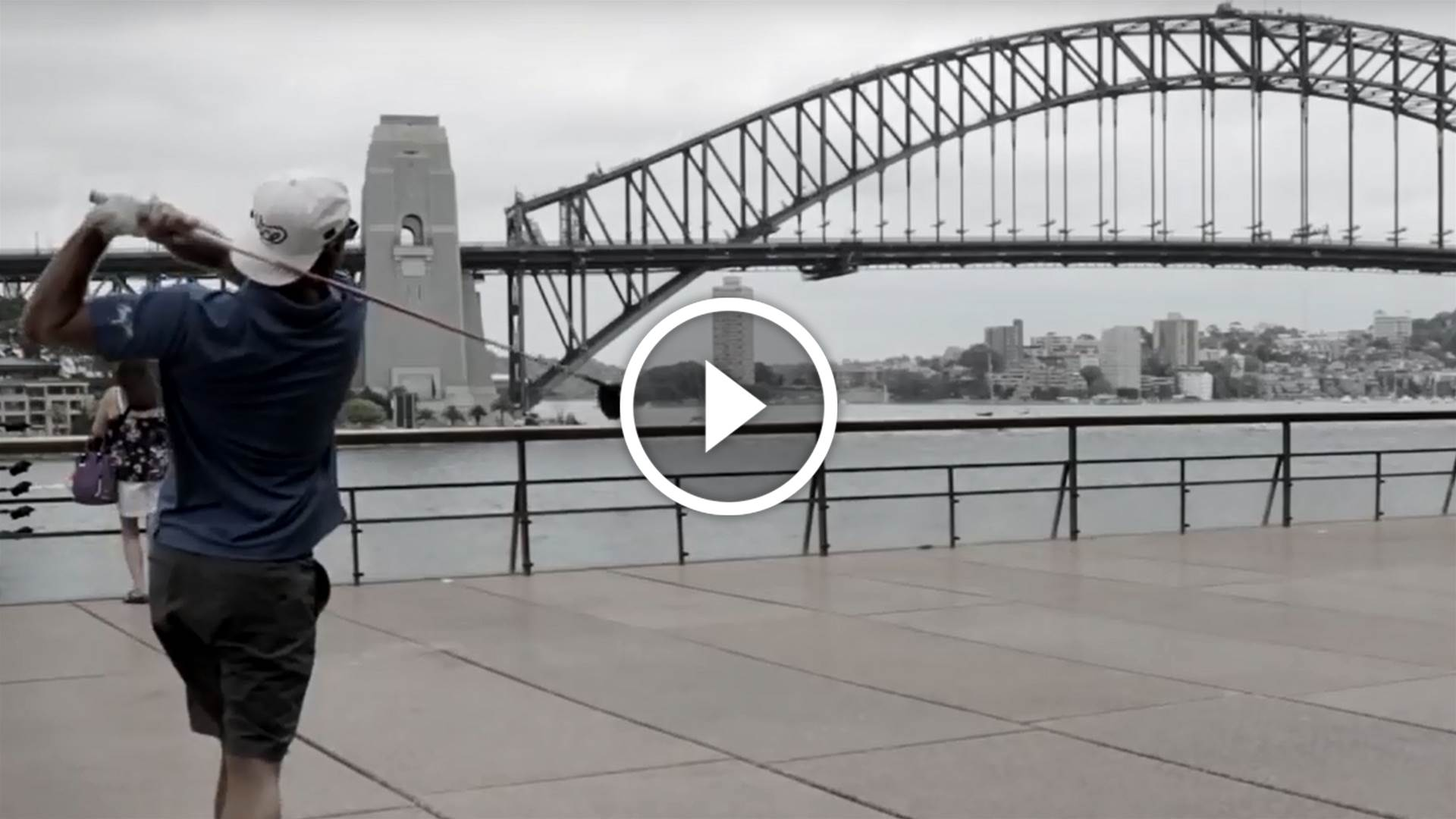 Golf trick shots on Sydney Harbour