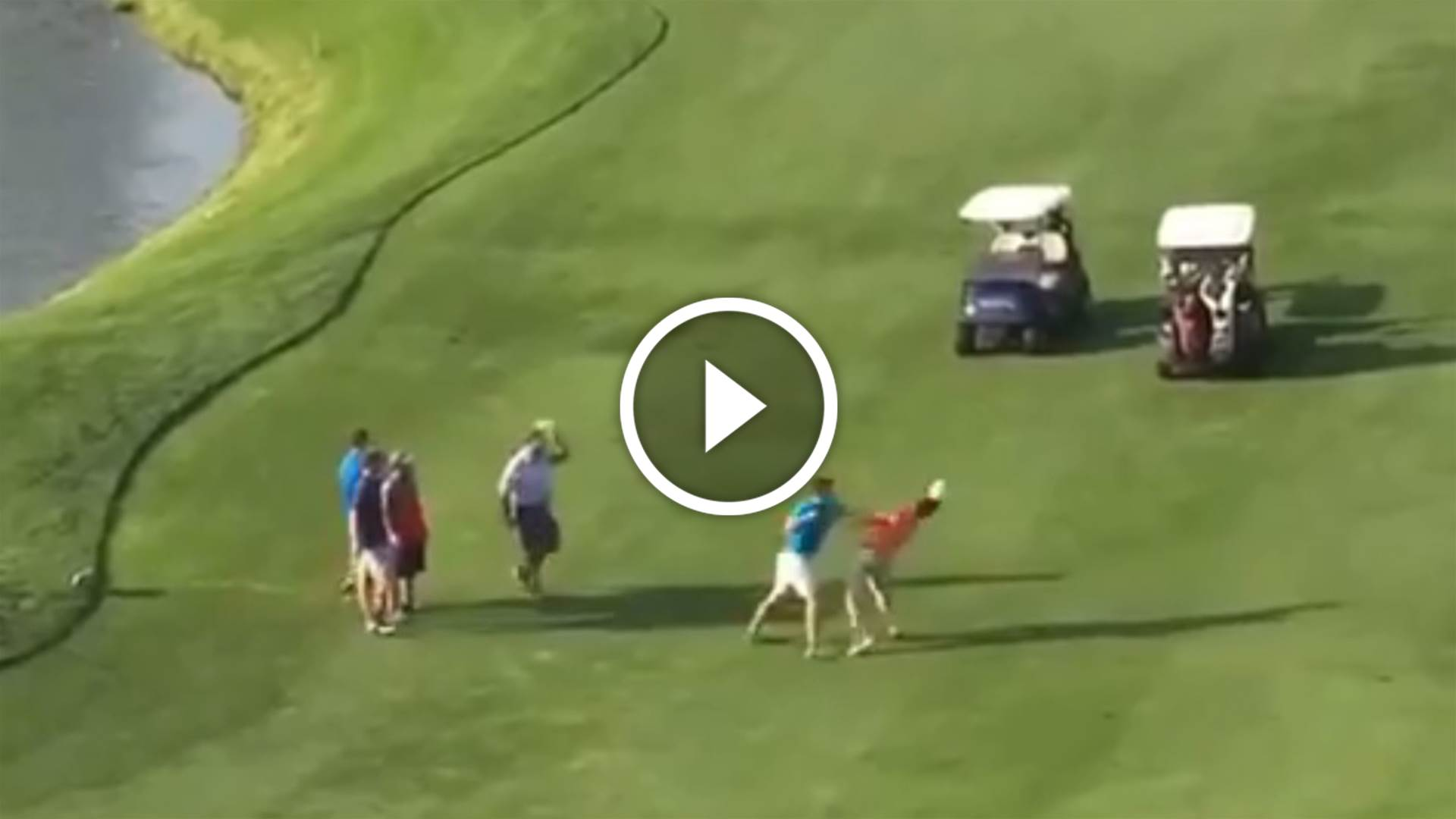 VIDEO: Golfers punch on over missed putt