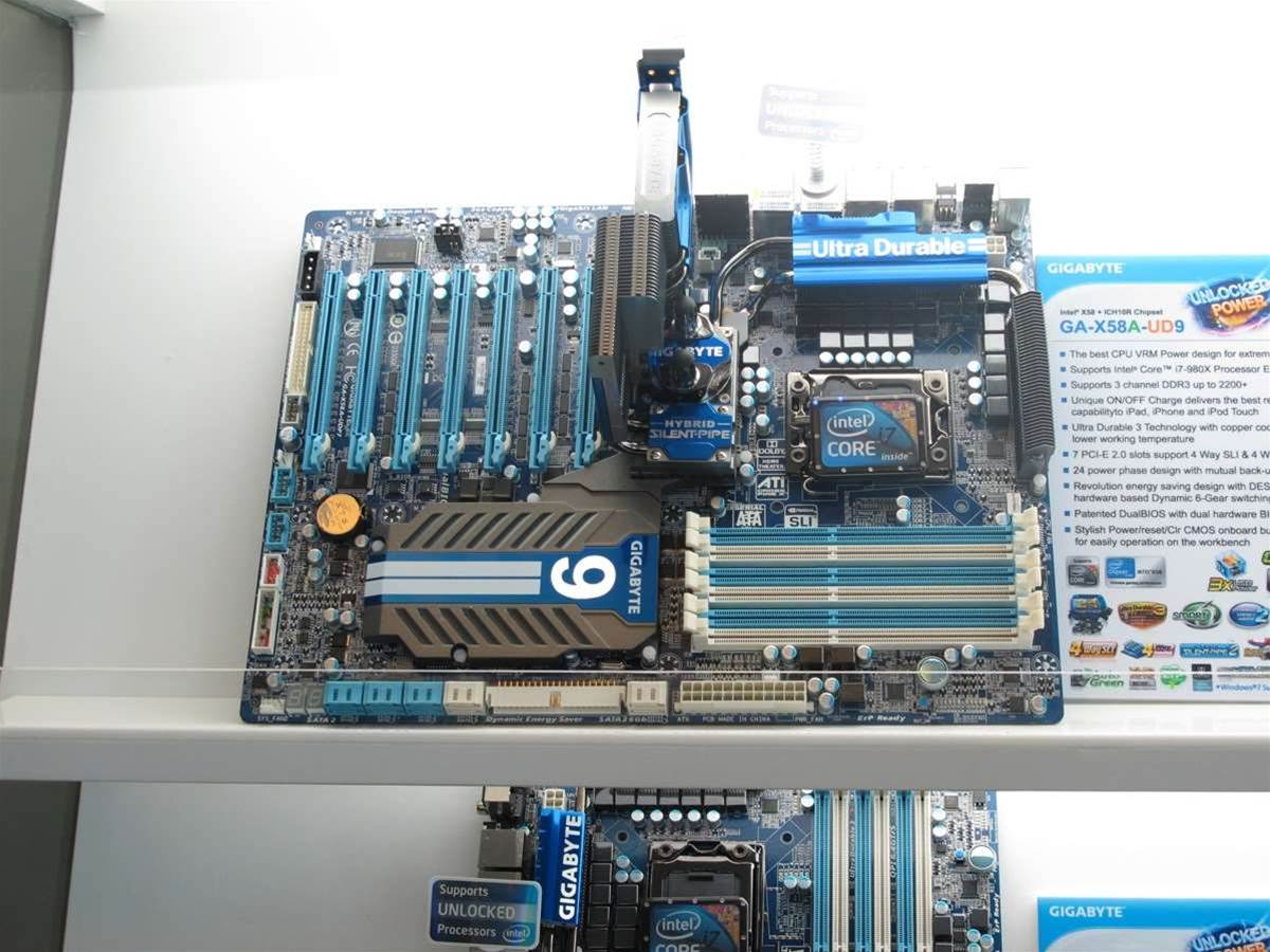 This is Gigabyte's flagship motherboard, the X58A-UD9. Designed specifically for Intel's flagship Core i7-980x 'Gulftown' CPU, this is a normal motherboard turned up to 11. It has 24 phases of power, seven PCI-E x16 slots and a whole host of other features designed for overclocking. Priced in the region of $600, the only way to really reach the potential of the board is with Liquid Nitrogen overclocking. The good news is that the research and development that goes into these high end features end up helping to make lower end motherboards better.