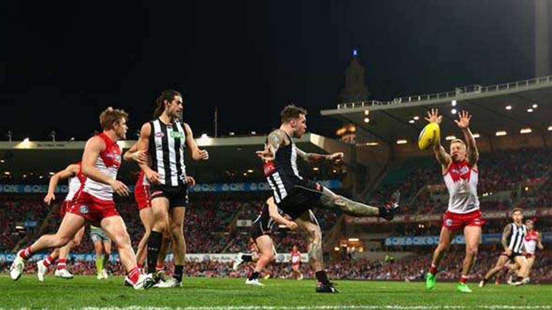 Snapshot of round 20 in the AFL
