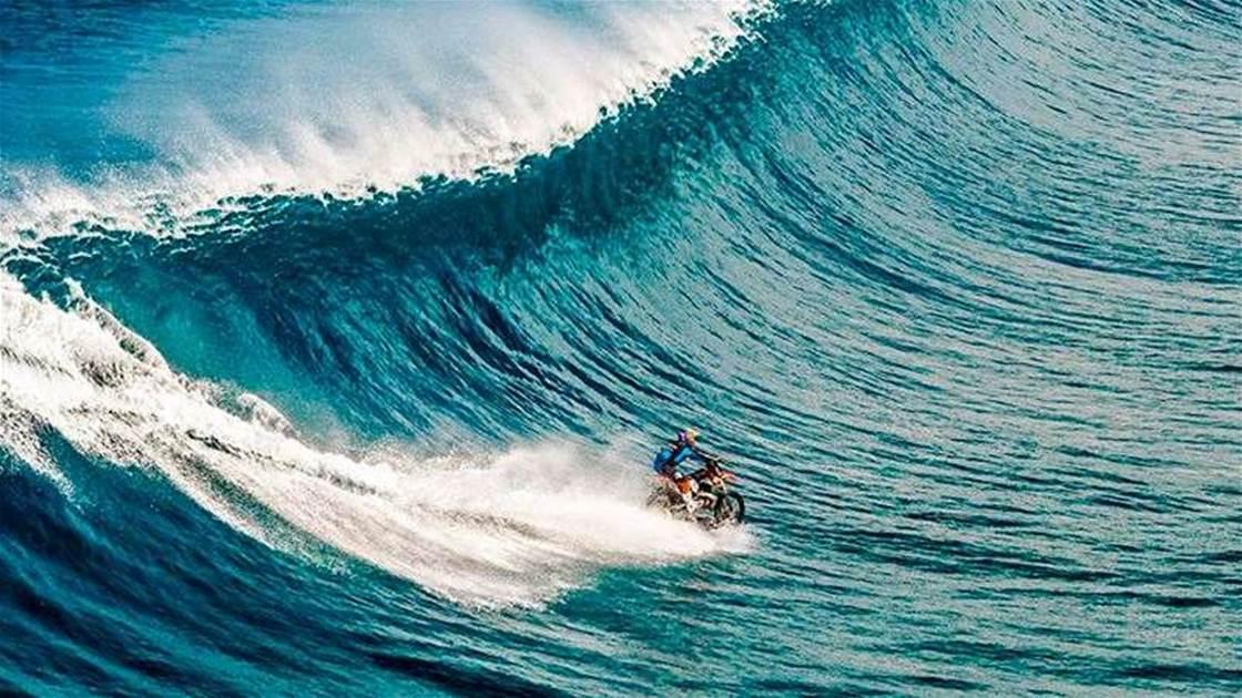 Australian Stunt Man Rides Teahupoo on a Motorbike