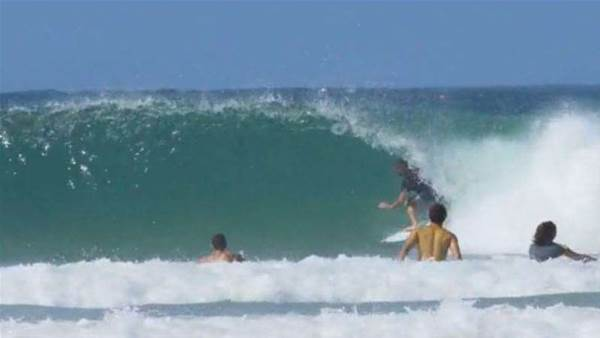 Mick Fanning Gets Super Barreled At Snapper