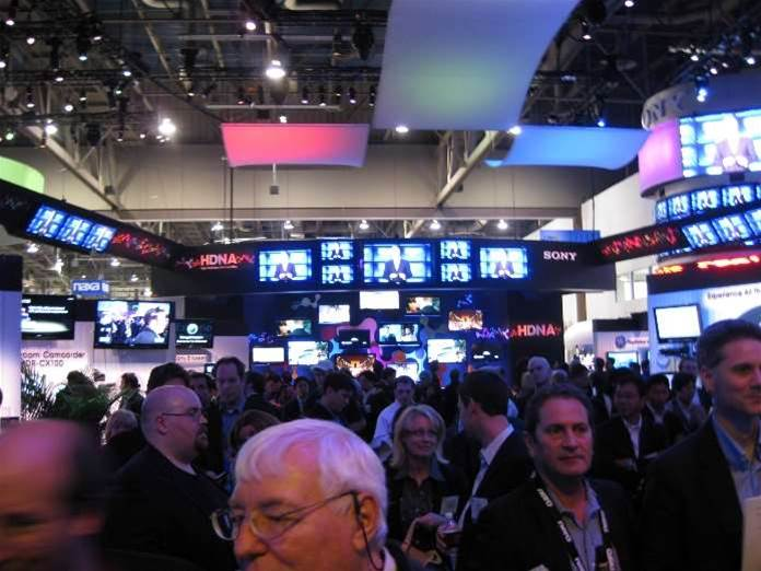 Screw the financial crisis: Sony CES stand has 150 Bravia TVs