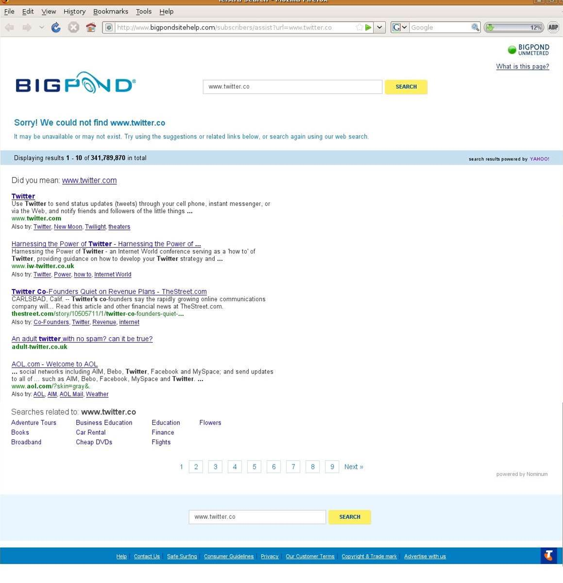 BigPond redirects typos to 'unethical' branded search page