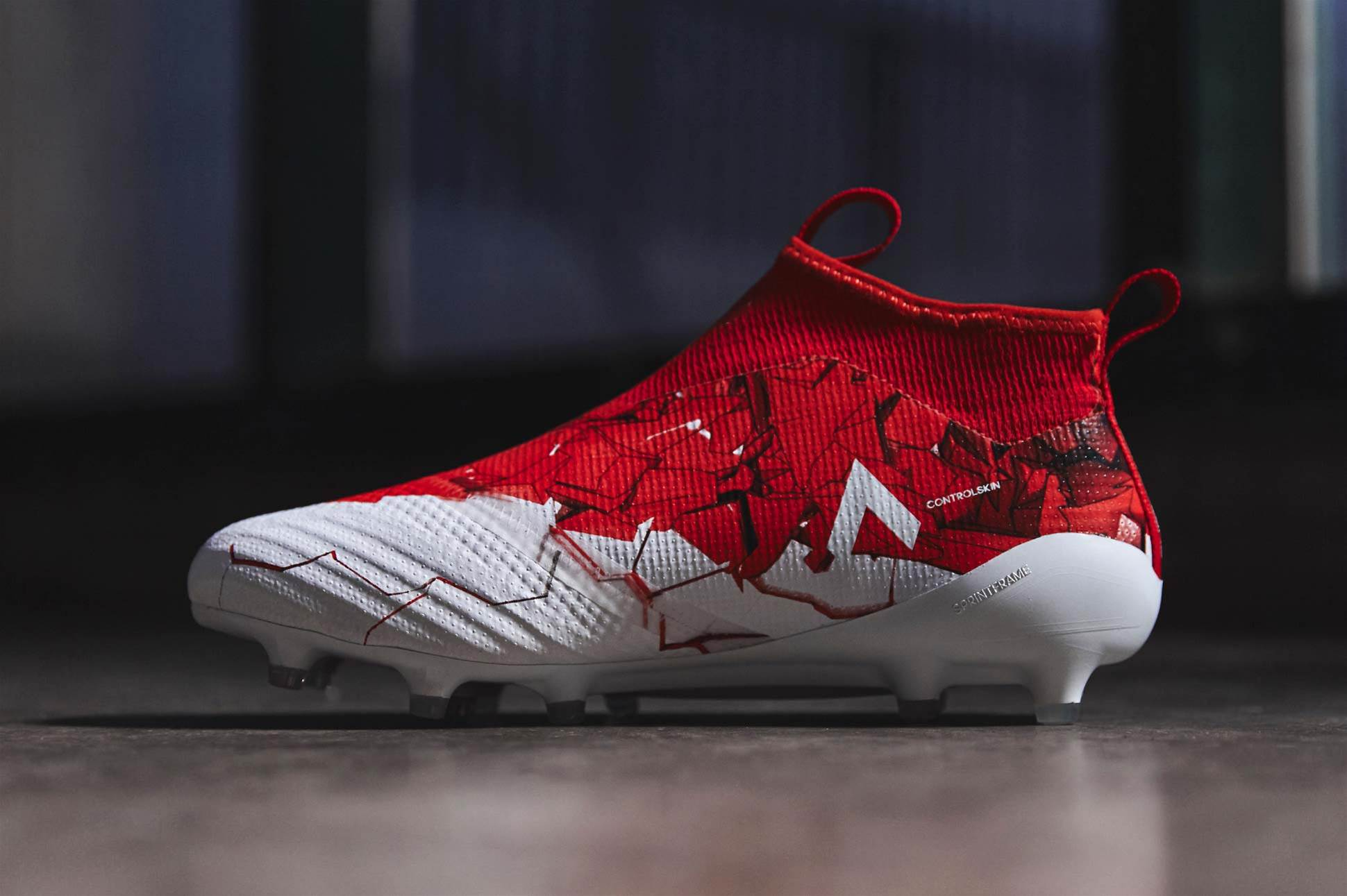 taking on a red and white colour scheme with frantic graphics the adidas ace 17+ purecontrol drops i
