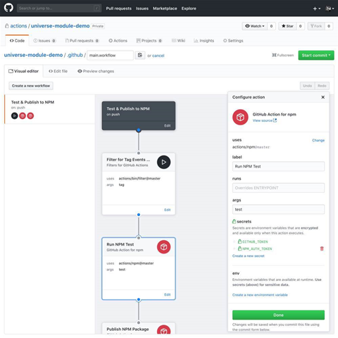 Github trials Docker-based Actions workflow automation