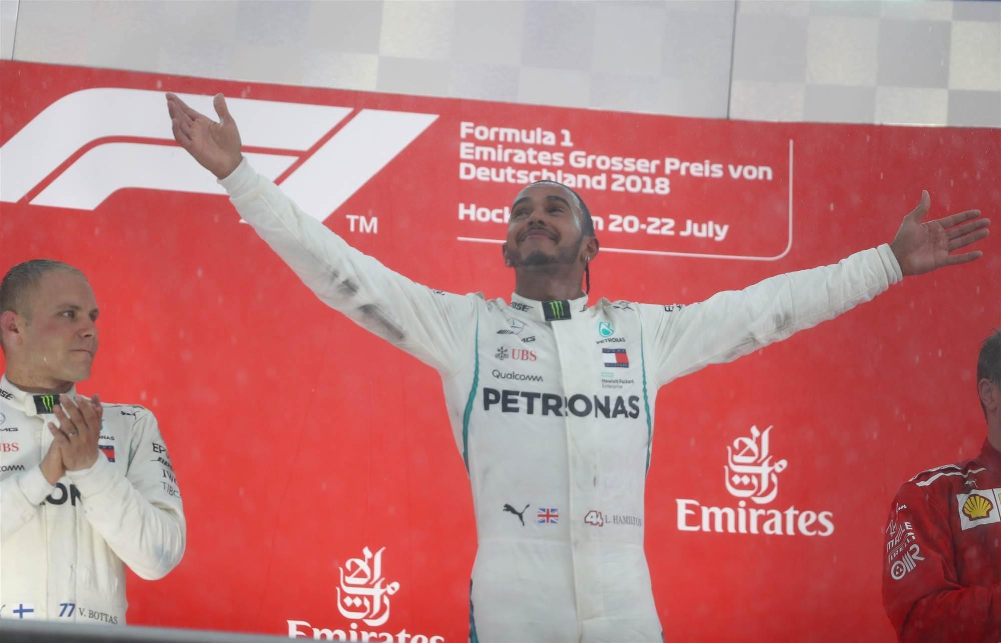 Hamilton strikes as Vettel stumbles in Germany