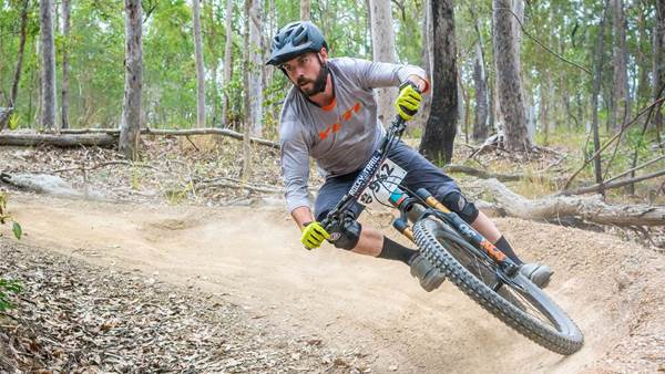 Mountain bike racing action