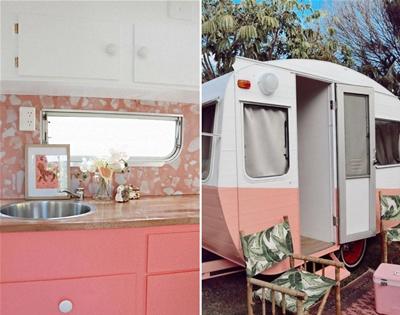peek inside a retro pink caravan