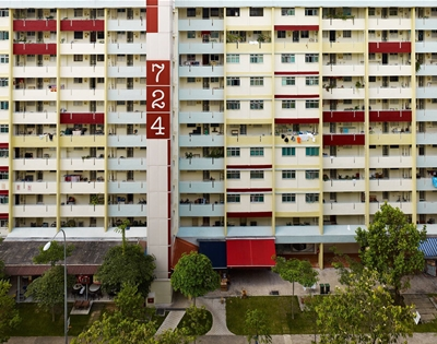 a colourful view of singapore's housing blocks