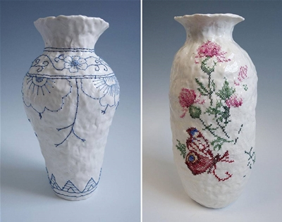 embroidered ceramics by caroline harrius