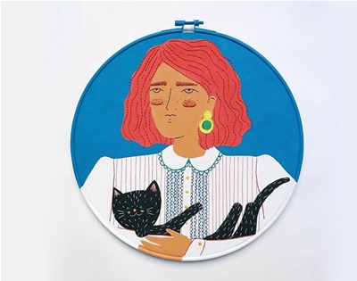 cel castella's painted embroidery hoops