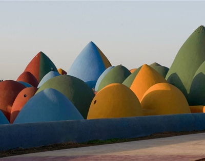 a village of colourful domes