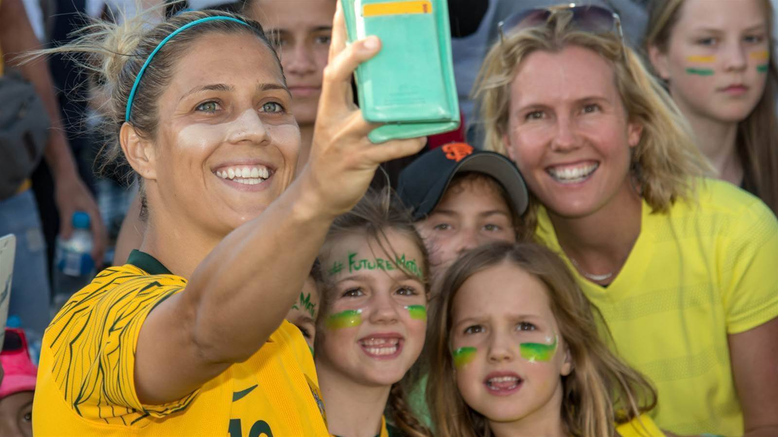On the sidelines... With Matildas fans in Penrith