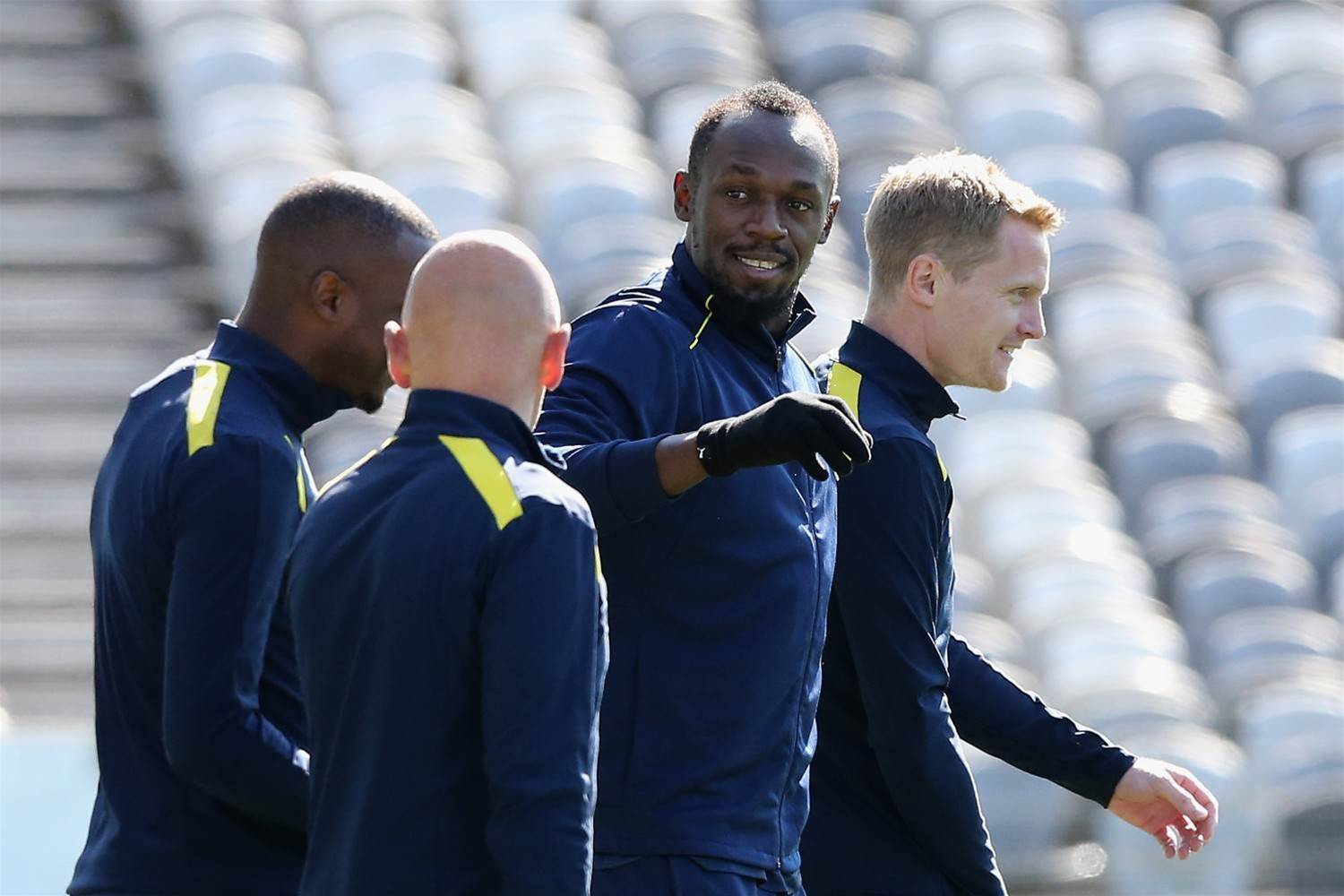 Pics: Usain Bolt attends first training session with Mariners