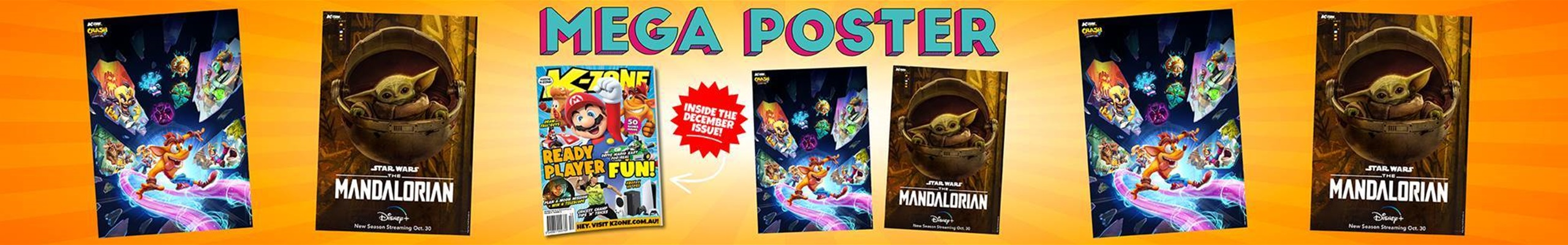 Don't Miss The December Issue Baby Yoda and Crash Bandicoot Mega Poster