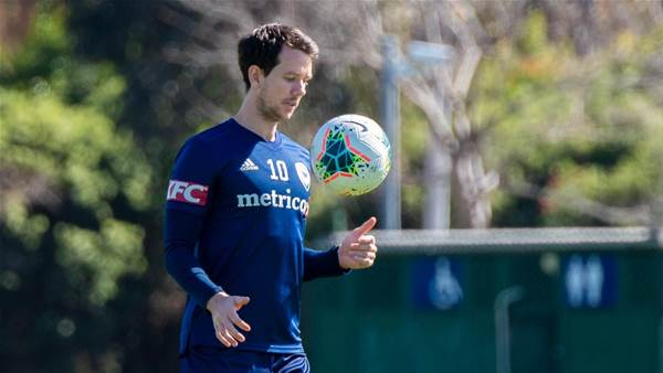 On the sidelines: At Melbourne Victory training