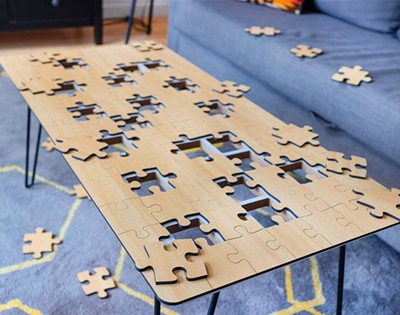 a puzzle and coffee table all in one