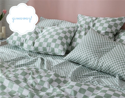 win a checkerboard bedding pack from the sheet society