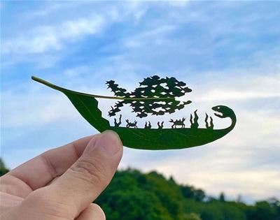leafy papercut art
