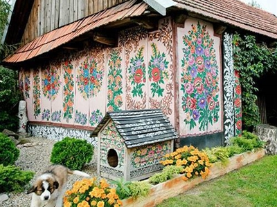 a polish village covered in flower paintings