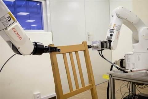 Robot assembles IKEA chair frame