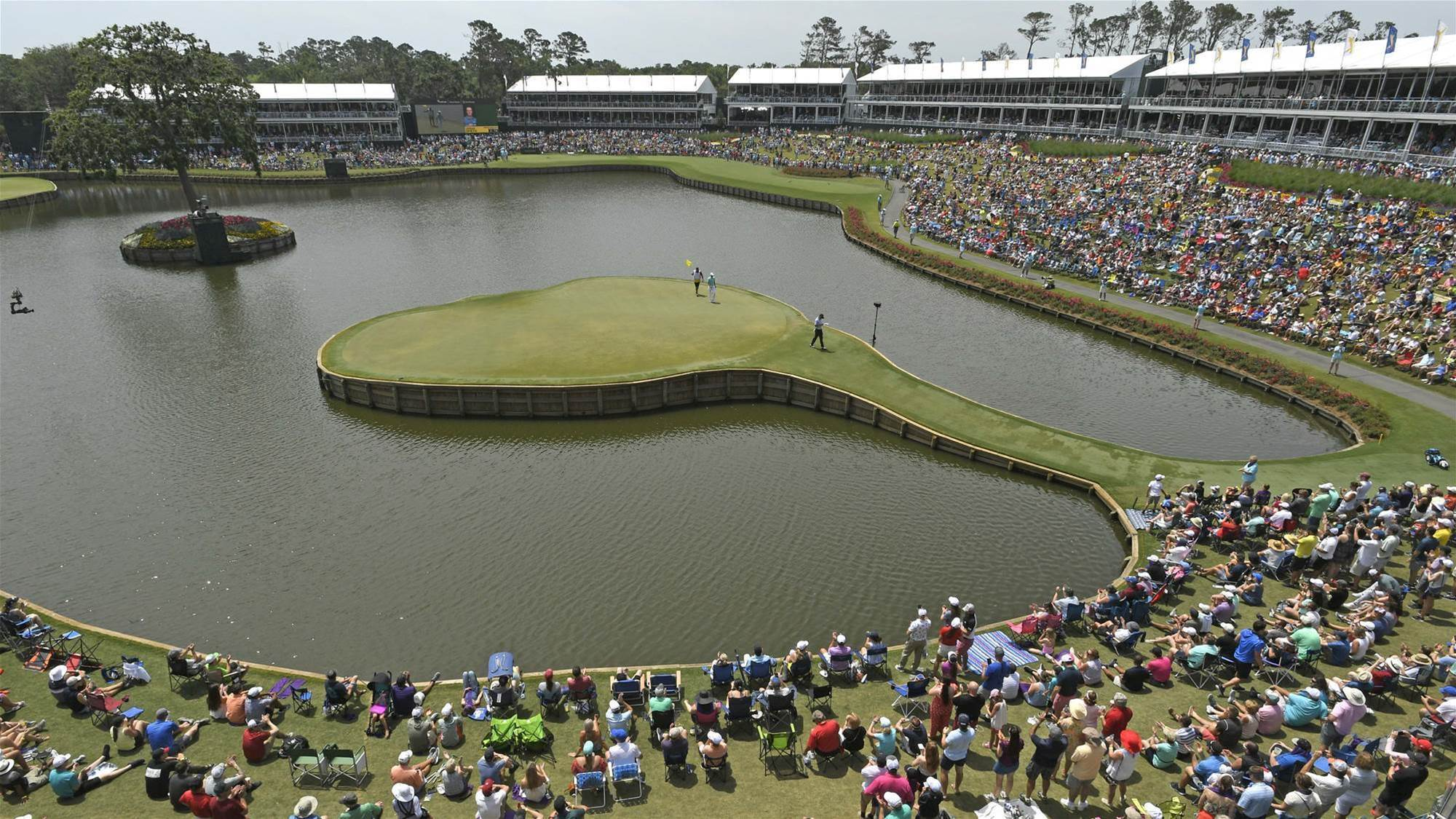 Aussies assess the iconic 17th at TPC Sawgrass