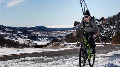 Biking to go skiing